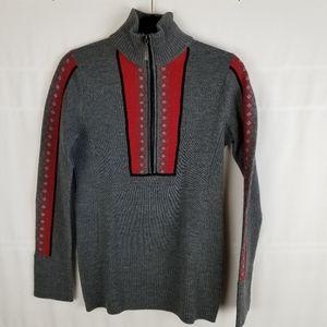 Eddie Bauer 1/2 zip 100% merino wool ski sweater
